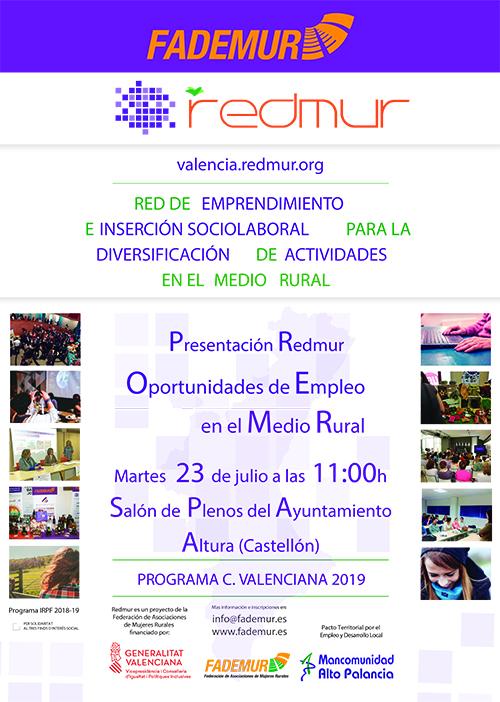 Cartel de presentación del proyecto Redmur que ha tenido lugar en la mañana de hoy 23 de julio de 2019, a las 11:00h en Altura (Castellón)
